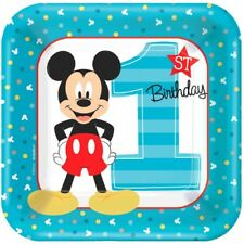 """Mickey Mouse Fun to Be One 8 7"""" Dessert Cake Plates 1st Birthday Party"""