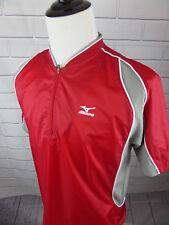 Mizuno Men's Size Small Short Sleeve Windbreaker Red Gray Pullover Nylon