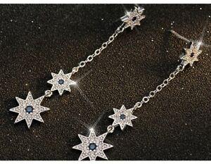Popular Fashion Silver Zircon Flower Long Tassel Dangle Earrings Wedding jewelry