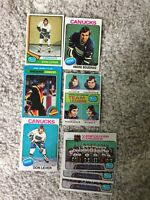 8 Vintage 1970's Vancouver Canucks cards. Don Lever, Andre Boudrias!