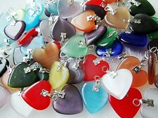 20Pcs Lots Silver Plated Hook Mix Color Heart Cat's Eye Stone Bead DIY Choose