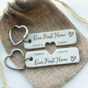 Pair of Personalised Keyrings His & Hers First Home Gift Leather Housewarming