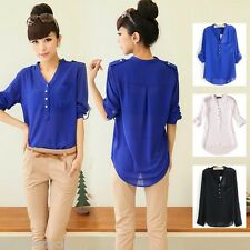 Women V Neck Long Sleeve Tops Chiffon Casual Loose T Shirt Blouse Tee Plus Size