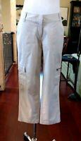 J Jill Cargo Cropped Khaki Pants Beige Cotton Stretch Capri NWOT Sz 4