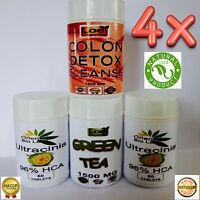 4 x Garcinia Cambogia HCA MAX 96% Colon Detox Perte Diet Thé Vert Minceur Poids