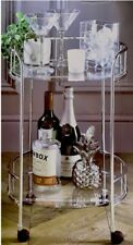 Silver Drinks Trolley With Glass Shelves Mini Bar Cocktail Table Drink Retro