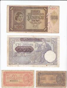 Lot WW2 Yugoslavia Serbia Croatia 10 20 100 1000 Dinara Kuna 1941 - 1944
