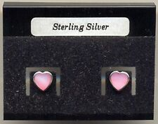 Heart Pink Mother of Pearl Sterling Silver 925 Studs Earrings Carded