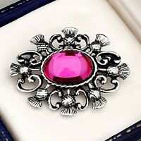 Vintage Fuschia Pink Glass Cabochon - Celtic Scottish Thistle Pewter Brooch Pin