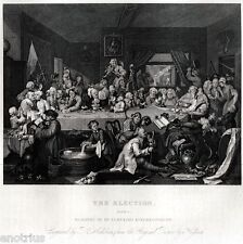 William Hogarth: The élection 1: au divertissement. satire. ACCIAIO.1850