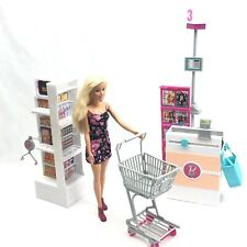 Barbie Doll Supermarket Set Grocery Store Doll Cart Checkout Lane Shelves & Bag