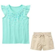Gymboree NWT Tide Pool Size 8 Aqua Ruffle Top Linen Shorts 2 PC LOT Outfit
