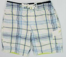 Speedo men's swim trunks medium plaid white blue lime green