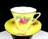 "ABJ CRAFTON CHINA ENGLAND ROSE BOUQUET YELLOW GOLD TRIM 3"" CUP AND SAUCER 1935"
