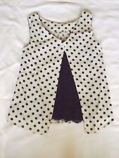 "DOROTHY PERKINS UK 12 EUR 40 WHITE BLACK SPOTS & LACE VEST BLOUSE CHEST 34"" 86cm"