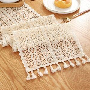 Wedding Table Runner Lace Tassel Crochet Hollow Woven Tablecloth Home Decor