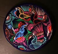 Mexican Folk Art Hand Painted Ceramic  Hanging plate/ Gorgeous Birds