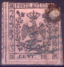 DUCATO DI MODENA - RARO FRANCOBOLLO DA 10 CENTESIMI ROSA CHIARO - 1852