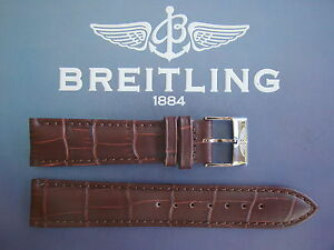 QUALITY 24MM BROWN CROCO PRINT WATCH BAND WATCHBAND BRACELET STRAP FOR BREITLING