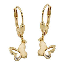 Gold 333 Mädchen Ohrringe Schmetterling Kinder Ohrhänger mit Zirkonia Hänger