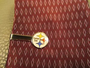 Vintage Pittsburgh Stainless Steel White Gold Plated Tie Clasp