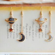 Women Christmas Asymmetric Moon Star Planet Drop Dangle Earrings Jewelry LD