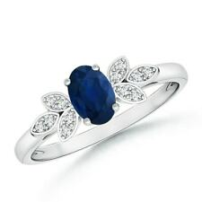 Vintage Style Oval Blue Sapphire Diamond Accents Ring 14k Gold/ Platinum