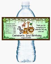 20 JUNGLE SAFARI BIRTHDAY WATER BOTTLE LABELS ~ Glossy ~ Waterproof INK