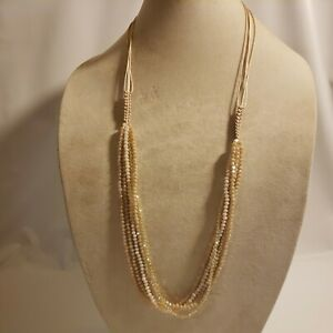 New Time & Tru Women's Gold Tone Multi Strand Necklace Pink Tan Glass Sparkly