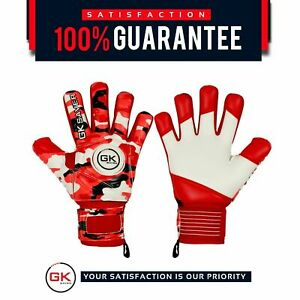 Football Goalkeeper Goalie GK Saver Camo Red Negative Cut Goalie Gloves Kids FS