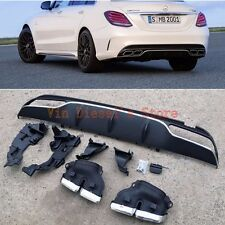 AMG C63 Style AMG Rear Bumper Lip Diffuser + Muffler Exhaust Tip For Benz C W205