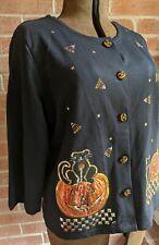 Halloween Button Shirt Sweater Womens Sz XL Onque Casuals Black Cat Sequin Bling