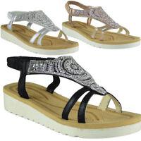 Womens Ladies Diamante Low Wedge Comfy Strap Summer Peeptoe Sandals Shoes Sizes