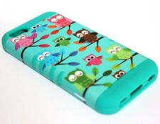 For iPhone 5C - HARD & SOFT RUBBER HYBRID SKIN CASE TURQUOISE GREEN COLORFUL OWL