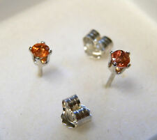 3 mm ... orange Zircon ear studs in sterling silver