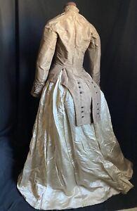 ANTIQUE 1880s BROWN BUSTLE WEDDING DRESS JACKET