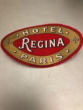 HOTEL REGINA luggage label PARIS