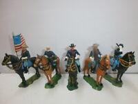 Konvolut 5 alte Elastolin Kunststoff Figuren USA Bürgerkrieg Nordstaatler zu 4cm