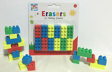 Novelty 18 Brick Lego Type Erasers, School Rubbers, Party Bag Filler