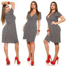 Damen Wickelkleid Pin-Up Midi Kleid sexy Plus Size Übergrösse 42 44 46 48 NEU
