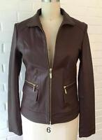 Cole Haan Women's Brown Leather Flap-pocket Wing Collar Lambskin Jacket