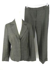 Ann Taylor Women's Pant Suit US 6 Grey Wool Blend 2-Btn Flat Front Wide Leg Cuff