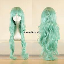 80cm perruque cosplay frisés ondulés long teal lumière pâle, vendeur Britannique, style Jeri