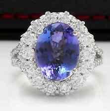 5.91 Carats NATURAL TANZANITE and DIAMOND 14K Solid White Gold Ring