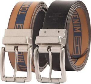 Tommy Hilfiger Men's 38MM Reversible Belt with Denim Logo Tan Blue