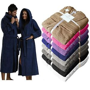 Unisex 100% Egyptian Cotton Terry Towelling Shawl Collar Hooded Bathrobe Gown
