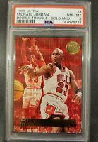 1995 Fleer Ultra Michael Jordan Double Trouble #3 Gold Medallion PSA 8 LOW POP