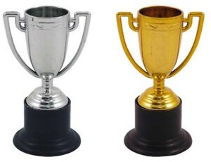 Mini Gold Silver Trophy MEDALS 10cm Plastic Trophies Party GOLD SILVER MIXED