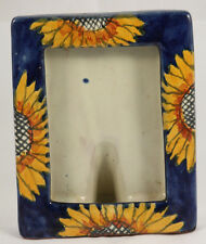 Mexican Ceramic/Pottery Picture Frame Hand Painted Folk Art Mexico Sunflowers