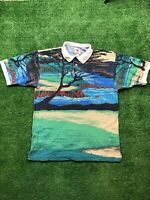 Vtg Cotton Traders Sport Golf Polo RARE Men's Size Large All Over Print